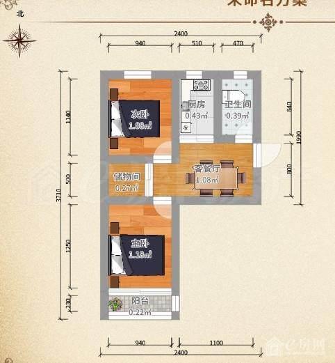 该房两室一厅,主卧朝南带阳台,次卧和厨卫朝北,南北通透,全明户型,自